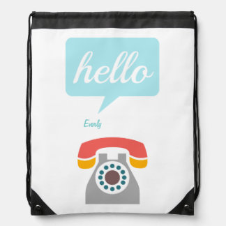 Hello Cute Colorful Hello Drawstring Backpack