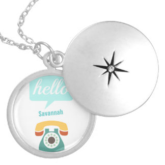 Hello Cute Colorful Hello Silver Plated Necklace
