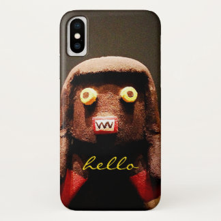 """Hello"" Cute, Funny, Sweet, Odd Face Figure Photo iPhone X Case"