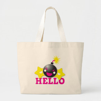 Hello cute smiling bomb tote bags