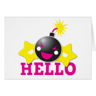 Hello cute smiling bomb greeting card