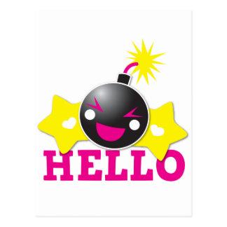 Hello cute smiling bomb postcard