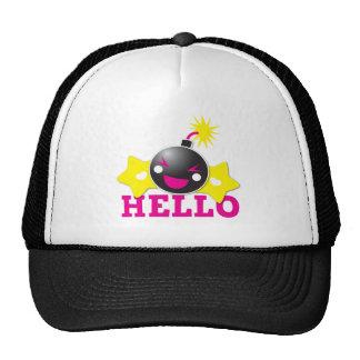 Hello cute smiling bomb trucker hat