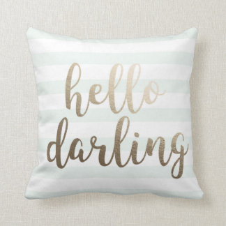 Hello Darling Blue Striped Throw Pillow