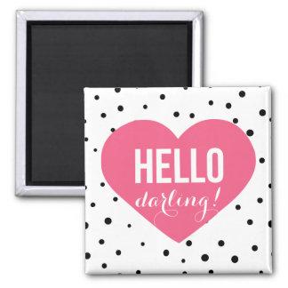 Hello Darling Heart | Polka Dots Magnet