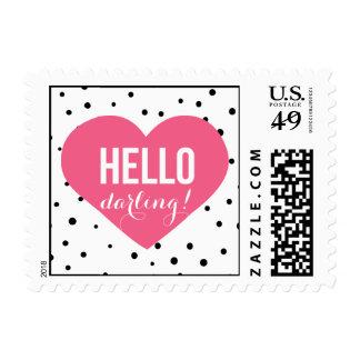 Hello Darling Heart | Polka Dots Stamp