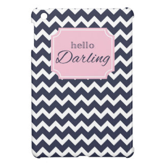 Hello Darling Navy Chevron + Pink Frame iPad Mini Cover