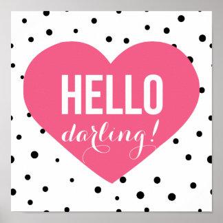 Hello Darling | Polka Dots Greeting Poster