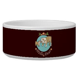 Hello Dear English bulldog mother and kid Dog Water Bowls