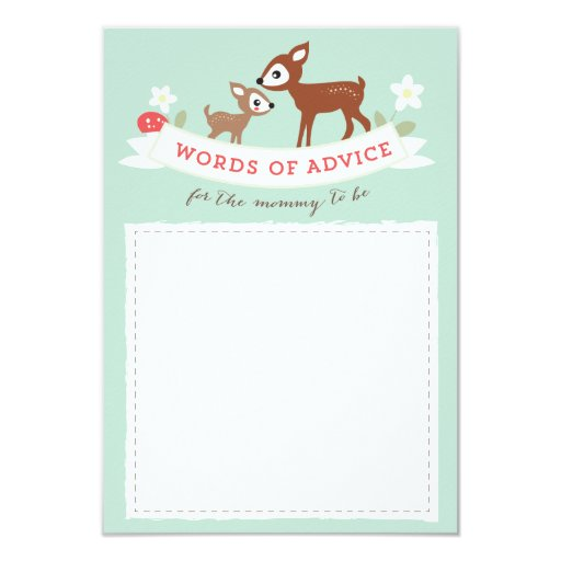 Deer advice cards baby shower game 3 5 quot x 5 quot invitation card zazzle