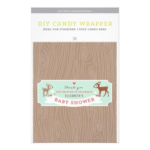 """Hello Deer! Baby Shower 1.55oz Candy Bar Template 5.5"""" X 8.5"""" Flyer"""