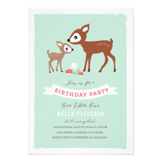 Hello Deer Birthday Party Invite