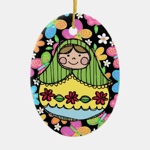 Hello Doll - SRF Double-Sided Oval Ceramic Christmas Ornament