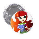 Hello Dollies: Fira and Bluebunny Headshot 1 Inch Round Button
