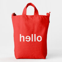 cool, hello, minimalist, typography, funny, words, unique, original, green, fun, welcome, hip, boho, minimalism, color, bag, [[missing key: type_groupestahl_bagguduckba]] with custom graphic design