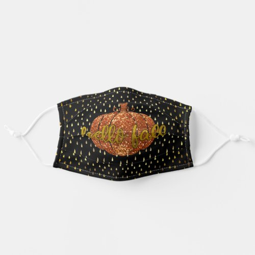 Hello Fall Autumn Glitter Pumpkin + Metallic Gold Adult Cloth Face Mask