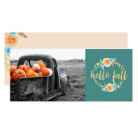 Hello Fall Watercolor Photo Greeting Card