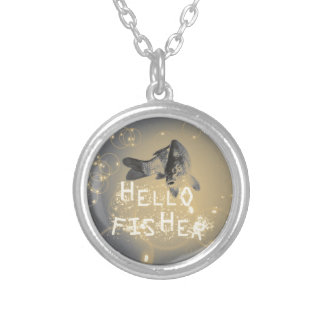 Hello fisher silver plated necklace