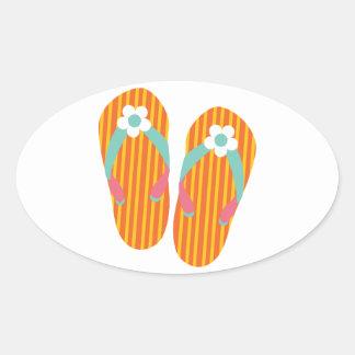 Hello Flip Flops Oval Sticker