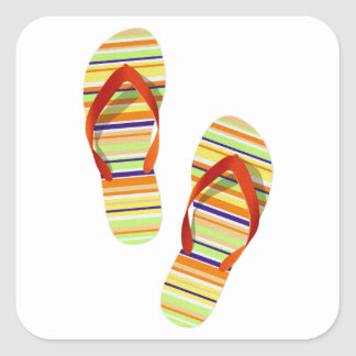 Hello Flip Flops Square Stickers