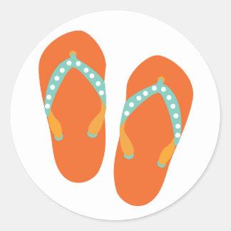 Hello Flip Flops Classic Round Sticker