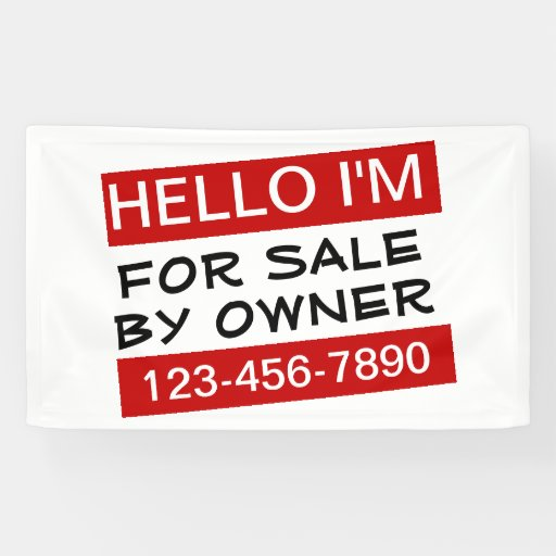 Hello for sale by owner house sale banner zazzle for B b for sale by owner