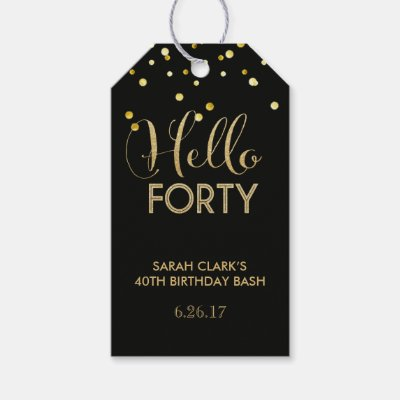 Personalize Happy 40th Birthday B W Gift Tags
