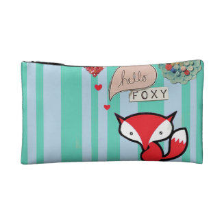 Hello Foxy Cute Fox with Buttons in Turquoise Makeup Bags