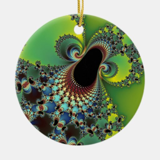 Hello - Fractal Double-Sided Ceramic Round Christmas Ornament