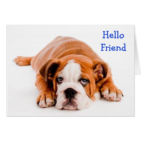 Hello Friend Bulldog Greeting Card - Verse