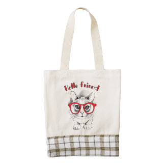 Hello Friend Cat with Glasses Tote Bag
