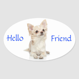 Hello Friend Long Haired Chihuahua Sticker