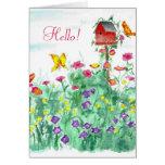 Hello Friend Red Birdhouse Butterfly Flower Card
