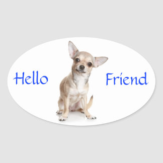 Hello Friend Smiling Chihuahua Sticker