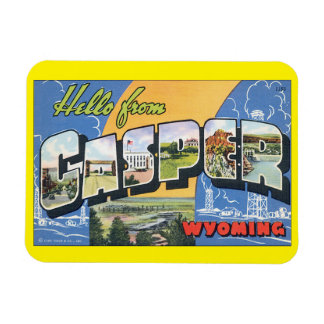 Hello from Casper Wyoming_Vintage Travel Poster Magnet