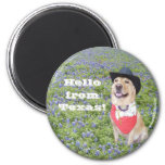 Hello from Texas! 2 Inch Round Magnet