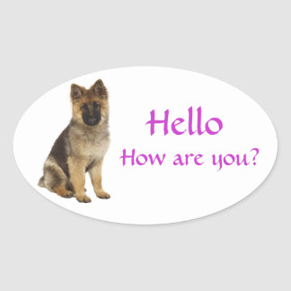 Hello German Shepherd Puppy Dog Greeting Stickers