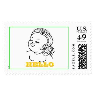 Hello Girl Stamp (horizontal design)