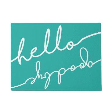 notablenovelties Hello Goodbye Typography - Pick Your Color Doormat