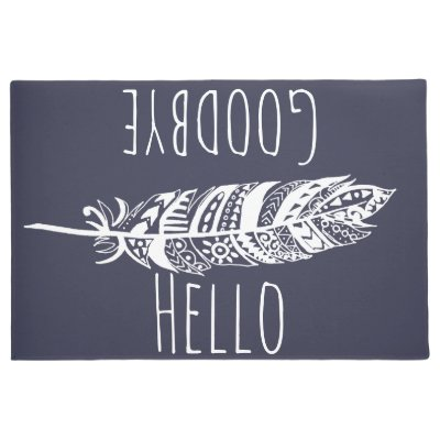 Hello Goodbye White Tribal Feather Doormat