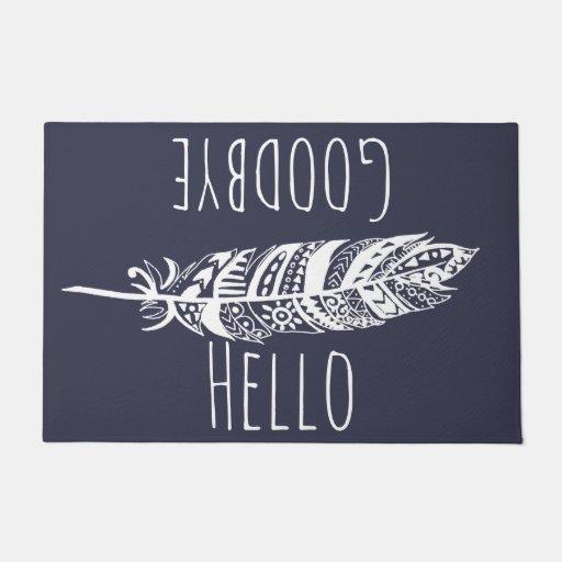 Hello Goodbye White Tribal Feather Doormat Zazzle