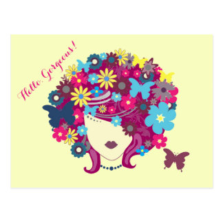 Hello, Gorgeous! Beautiful Flower Lady Postcard