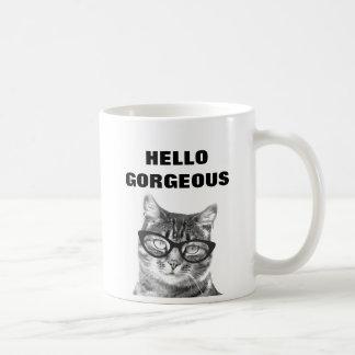 Hello Gorgeous black and white 11oz cat mug