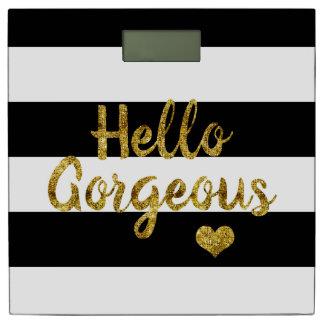 HELLO GORGEOUS Black and White Stripe Bathroom Scale