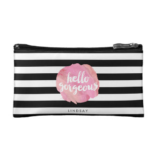 Hello Gorgeous Black Stripe & Pink Watercolor Makeup Bag at Zazzle