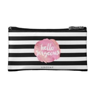Hello Gorgeous Black Stripe & Pink Watercolor Makeup Bag