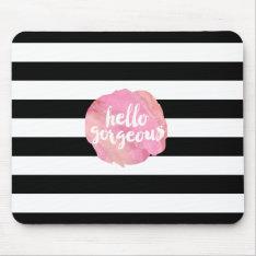 Hello Gorgeous | Black Stripe & Pink Watercolor Mouse Pad at Zazzle