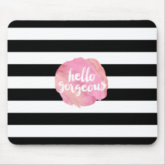 Hello Gorgeous | Black Stripe & Pink Watercolor Mouse Pad