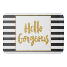 Hello Gorgeous Black & White Gold Glitter Stripes Bathroom Mat