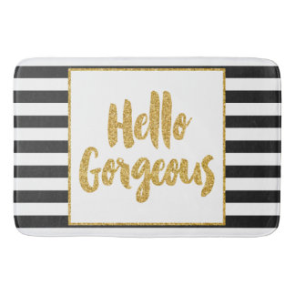 Hello Gorgeous Black White Gold Glitter Stripes Bathroom Mat